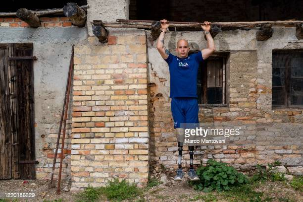 Luca Campeotto trains in isolation on April 21 2020 in Lignano Sabbiadoro Italy Campeotto holds the italian record for the 200 metres T62 and was...