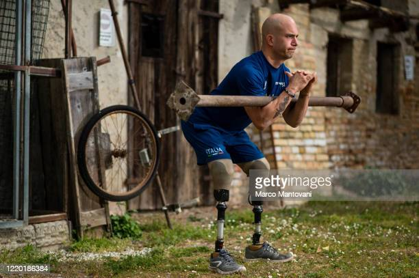 Luca Campeotto trains in isolation on April 21, 2020 in Lignano Sabbiadoro, Italy. Campeotto holds the italian record for the 200 metres T62 and was...