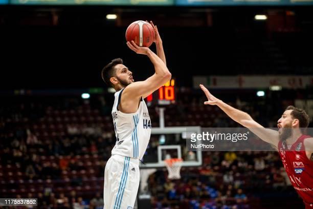 Luca Campogrande shoots a layupduring a basketball game of LBA between A|X Armani Exchange Milano v Happy Casa Brindisi at Mediolanum Forum Assago,...