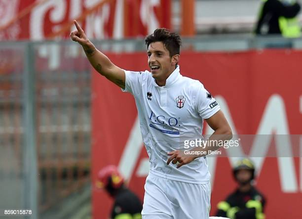 Luca Castiglia of Pro Vercelli celebrates the after scoring a goal to make it 13 during the Serie B match between AC Perugia and Pro Vercelli at...