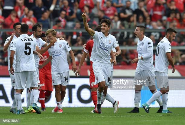 Luca Castiglia of Pro Vercelli celebrates the after scoring goal 12 during the Serie B match between AC Perugia and Pro Vercelli at Stadio Renato...
