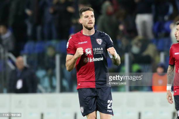 Luca Ceppitelli of Cagliari celebrates a victory during the Serie A match between Cagliari and ACF Fiorentina at Sardegna Arena on March 15 2019 in...