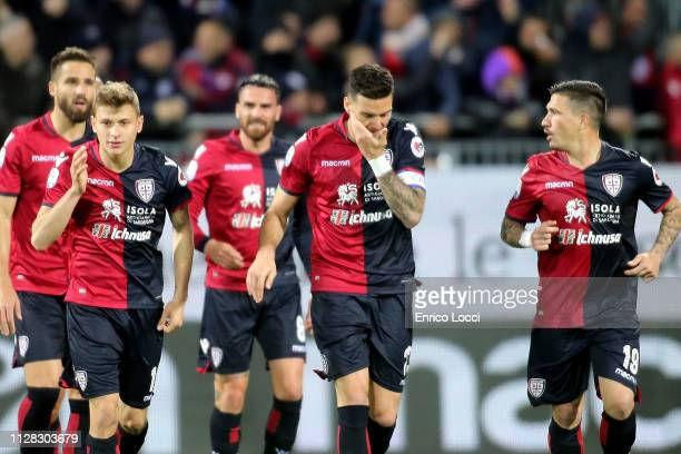 Luca Ceppitelli of Cagliari celebrates his goal 10 during the Serie A match between Cagliari and FC Internazionale at Sardegna Arena on March 1 2019...