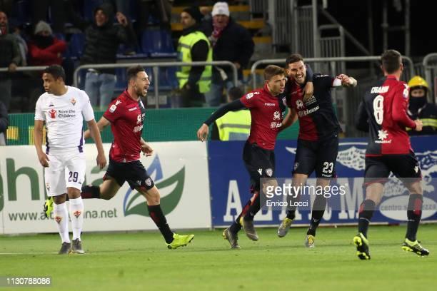 Luca Ceppitelli of Cagliari celebrates his goal 20 during the Serie A match between Cagliari and ACF Fiorentina at Sardegna Arena on March 15 2019 in...