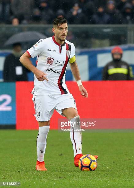 Luca Ceppitelli of Cagliari during the Serie A match between Atalanta BC and Cagliari Calcio at Stadio Atleti Azzurri d'Italia on February 5 2017 in...
