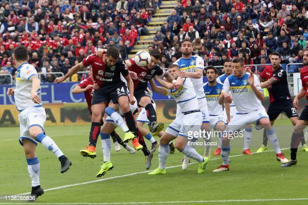 Luca Ceppitelli of Cagliari in action during the Serie A match between Cagliari and Frosinone Calcio at Sardegna Arena on April 20 2019 in Cagliari...