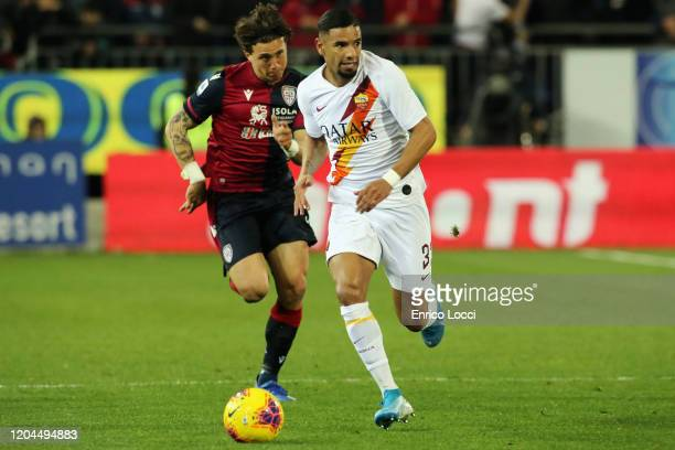 Luca Ceppitelli of Cagliari in contrast with a player of ROma during the Serie A match between Cagliari Calcio and AS Roma at Sardegna Arena on March...