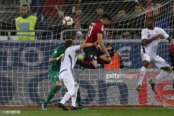Luca Ceppitelli of Cagliari scores his goal 20 during the Serie A match between Cagliari and ACF Fiorentina at Sardegna Arena on March 15 2019 in...