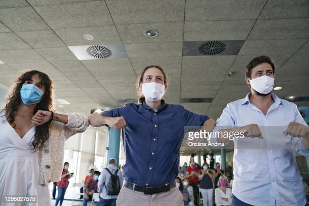 Luca Chao The Vice President and Minister of Social Rights and Agenda 2030 Pablo Iglesias and Antón GómezReino during a rally for the Galician...