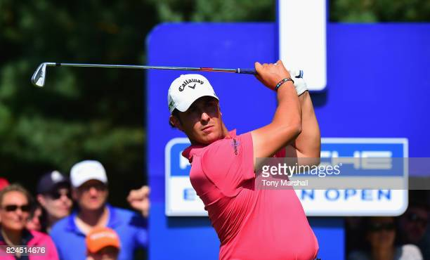 Luca Cianchetti of Italy plays his first shot on the 1st tee during the Porsche European Open Day Four at Green Eagle Golf Course on July 30 2017 in...