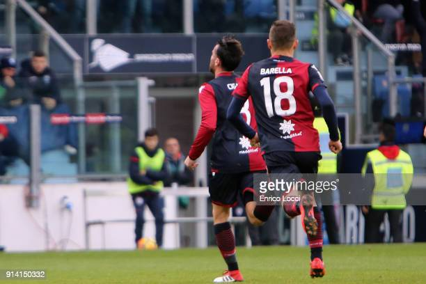 Luca Cigarini of Cagliari celebrates his goal 10 during the serie A match between Cagliari Calcio and Spal at Stadio Sant'Elia on February 4 2018 in...