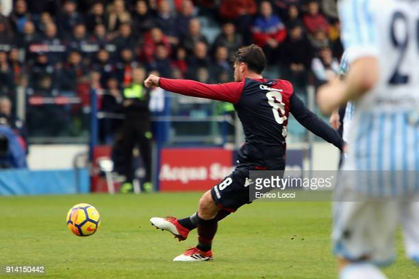 Luca Cigarini of Cagliari scores his goal 10 during the serie A match between Cagliari Calcio and Spal at Stadio Sant'Elia on February 4 2018 in...