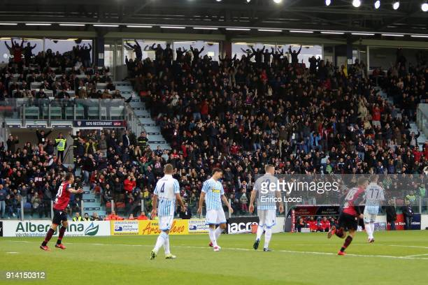 Luca Cigarini scores the goal 10 during the serie A match between Cagliari Calcio and Spal at Stadio Sant'Elia on February 4 2018 in Cagliari Italy