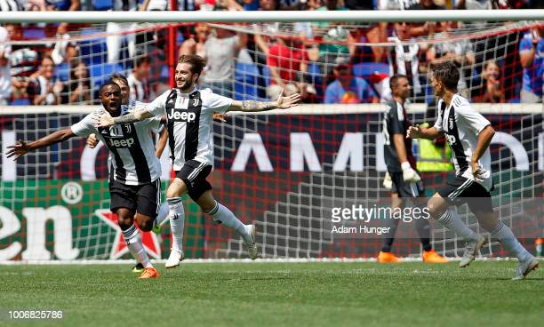 Luca Clemenza of Juventus celebrates scoring a goal past Odisseas Vlachodimos of Benfica during the International Champions Cup 2018 match between...