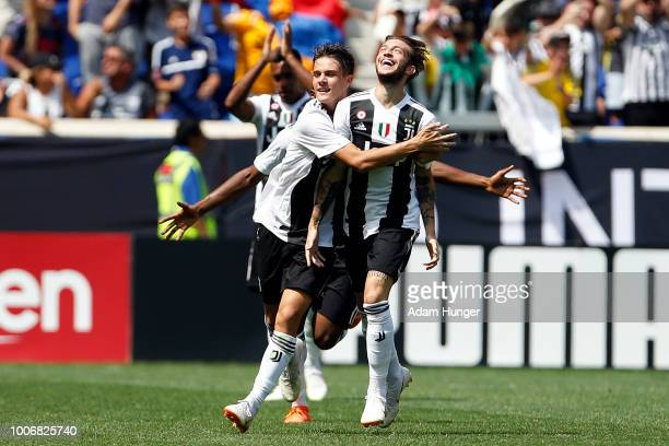 Luca Clemenza of Juventus celebrates scoring a goal with teammates against Benfica during the International Champions Cup 2018 match between Benfica...