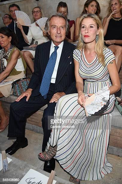 Luca Cordero di Montezemolo and Ludovica Andreoni attend the Fendi Roma 90 Years Anniversary fashion show at Fontana di Trevi on July 7 2016 in Rome...