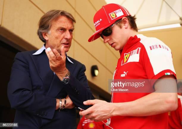 Luca Cordero di Montezemolo, Chairman of Ferrari is seen talking with Kimi Raikkonen of Finland and Ferrari in the paddock before the Bahrain Formula...