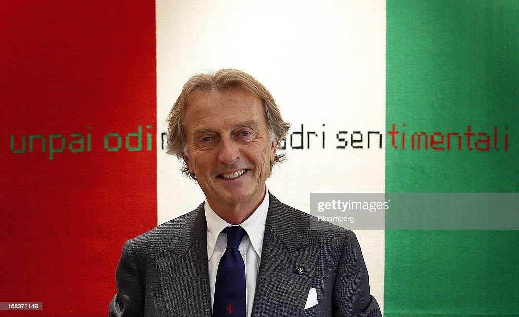 Luca Cordero Di Montezemolo, chairman of Ferrari SpA, poses for a photograph following an interview in his office at the Ferrari SpA plant in Maranello, Italy, on Wednesday, May 8, 2013. Ferrari SpA, the Italian supercar manufacturer owned by Fiat SpA, plans to reduce sales to fewer than 7,000 vehicles this year to 'maintain the exclusivity' of the brand. Photographer: Alessia Pierdomenico/Bloomberg via Getty Images