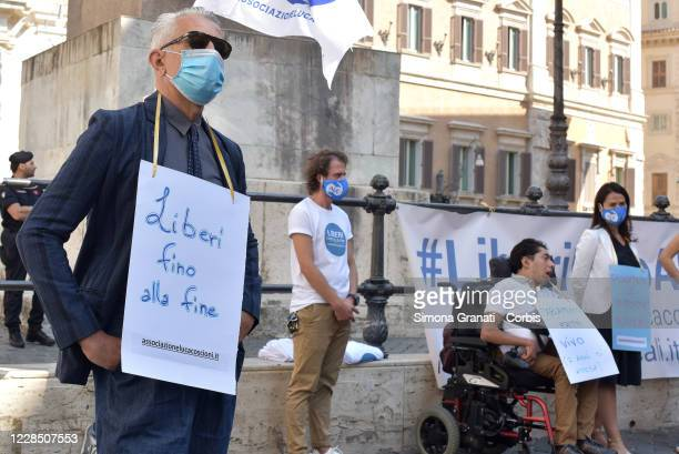 Luca Coscioni Association activists protest in front of Parliament to demand legal euthanasia, on September 14, 2020 in Rome, Italy. 7 years have...