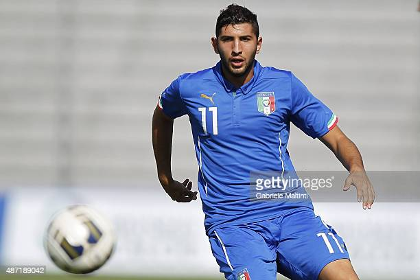 Luca Crecco of Italy U20 in action during the match between Italy U20 and Germany U20 at Stadio Porta Elisa on September 3 2015 in Lucca Italy