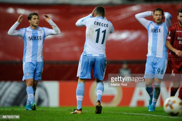 Luca Crecco of SS Lazio reacts during the UEFA Europa League group K match between SV Zulte Waregem and SS Lazio at Regenboogstadion on December 7...