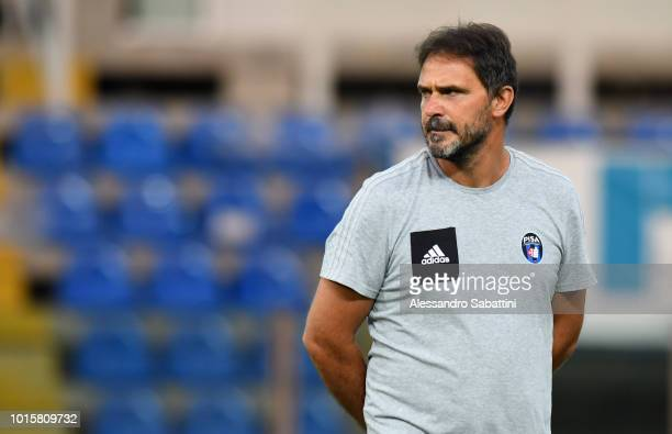 Luca D'Angelo head coach of Pisa looks on before the Coppa Italia match between Parma Calcio and Pisa at Stadio Ennio Tardini on August 12, 2018 in...