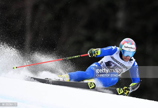 Luca de Aliprandini from Italy competes during the men's Giant Slalom first run at the FIS Alpine Skiing World Cup in GarmischPartenkirchen southern...
