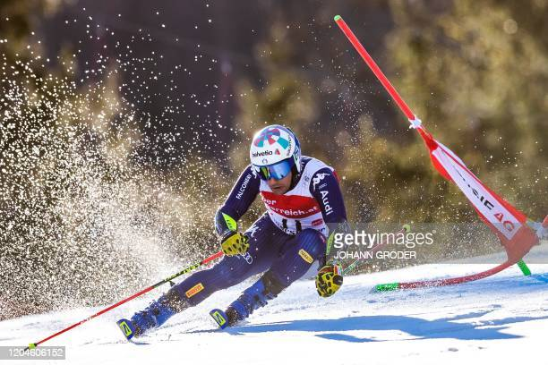 Luca De Aliprandini of Italy competes during the first run of the men's giant slalom of the FIS Ski World Cup in Hinterstoder Austria on March 2 2020...