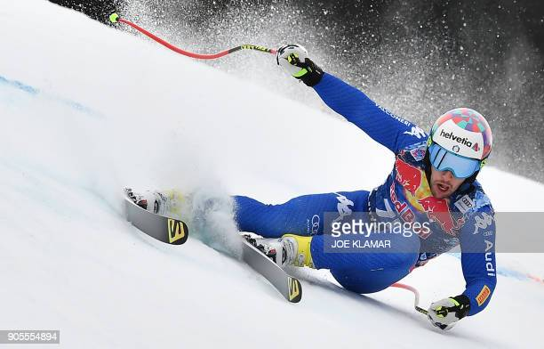 TOPSHOT Luca De Aliprandini of Italy skis during the first practice of the FIS Alpine World Cup Men's downhill in Kitzbuehel Austria on January 16...