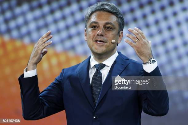 Luca de Meo chairman of Espanola de Automovil Turismo speaks before unveiling the company's new Arona compact sports utility vehicle during a launch...