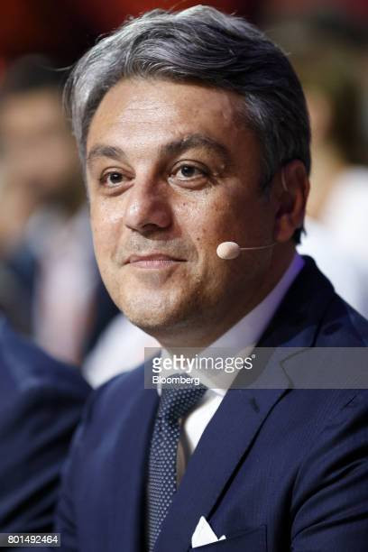 Luca de Meo chairman of Espanola de Automovil Turismo watches before the start of a launch event for the company's new Arona compact sports utility...