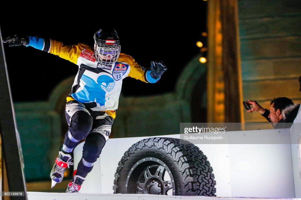 Luca Dellago during the Red Bull Crashed Ice Marseille 2018 on February 17, 2018 in Marseille, France.