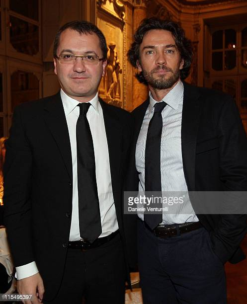 Luca Dini and Alessio Boni attend the Gala Dinner in honour of Meryl Streep during Day 9 of the 4th International Rome Film Festival held at the...