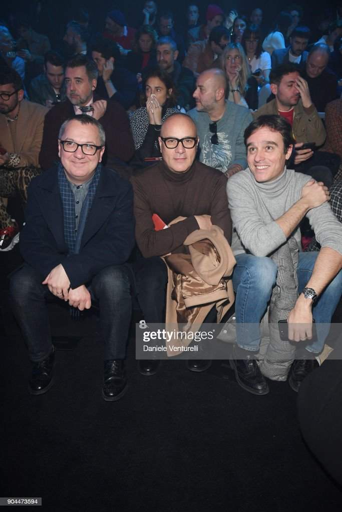Luca Dini, Simone Salvini and Emanuele Farneti attends the Dolce & Gabbana show during Milan Men's Fashion Week Fall/Winter 2018/19 on January 13, 2018 in Milan, Italy.