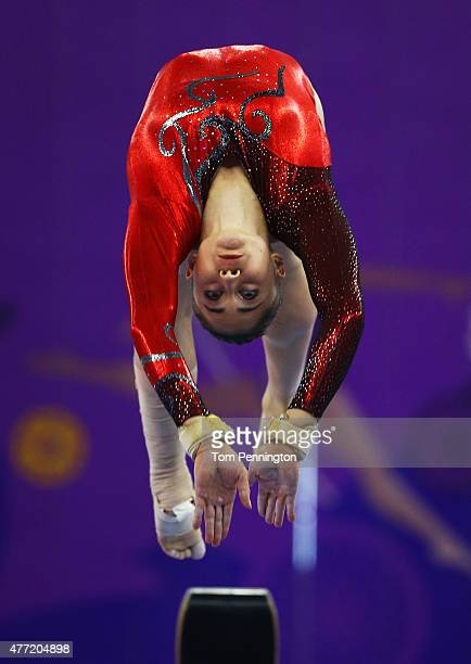 Luca Diveky of Hungary competes on the beam during the Women's Artistic Gymnastics Team and All Around qualification on day three of the Baku 2015...
