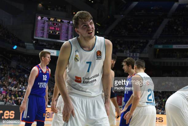 Luca Doncic #4 of Real Madrid gestures during the 2017/2018 Turkish Airlines EuroLeague Regular Season Round 20 game between Real Madrid and Anadolu...