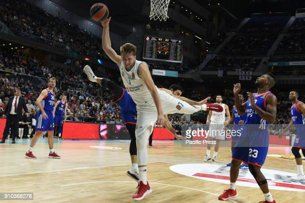 Luca Doncic #4 of Real Madrid in action during the 2017/2018 Turkish Airlines EuroLeague Regular Season Round 20 game between Real Madrid and Anadolu...
