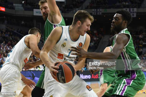 Luca Doncic #4 of Real Madrid in action during the Euroleague basketball match between Real Madrid and Unicaja Malaga played at WiZink center in...