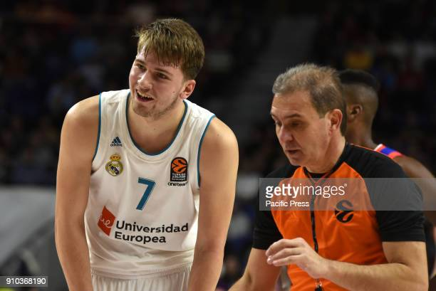 Luca Doncic #4 of Real Madrid pictured during the 2017/2018 Turkish Airlines EuroLeague Regular Season Round 20 game between Real Madrid and Anadolu...