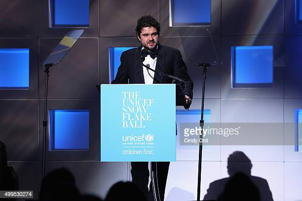 Luca Dotti speaks on stage at the 11th Annual UNICEF Snowflake Ball Honoring Orlando Bloom Mindy Grossman And Edward G Lloyd at Cipriani Wall Street...