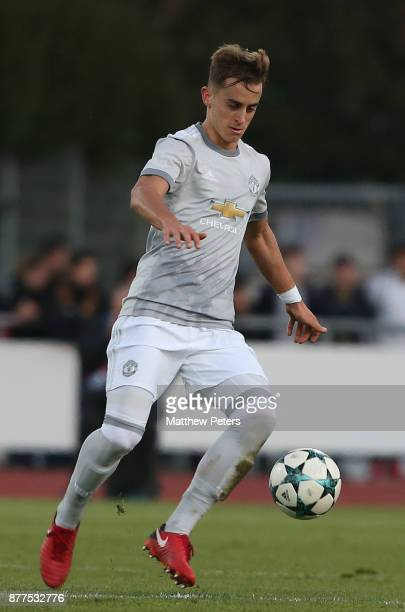 Luca Ercolani of Manchester United U19s in action during the UEFA Youth League match between FC Basel U19s and Manchester United U19s at...