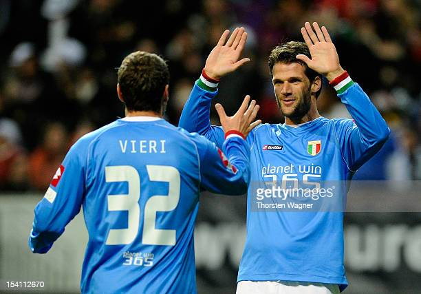 Luca Facchetti and his team mate Christian Vieri of Italy celebrates after scoring her teams first goal during the century match between Germany and...