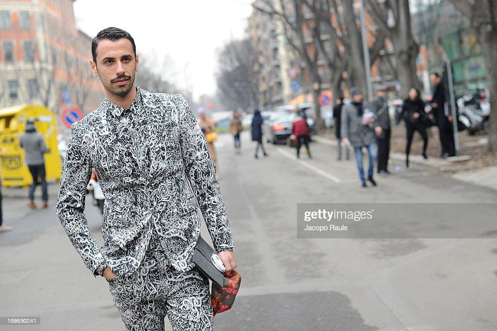 Luca Finotti arrives at Giorgio Armani during Milan Fashion Week Menswear Autumn/Winter 2013 on January 15, 2013 in Milan, Italy.