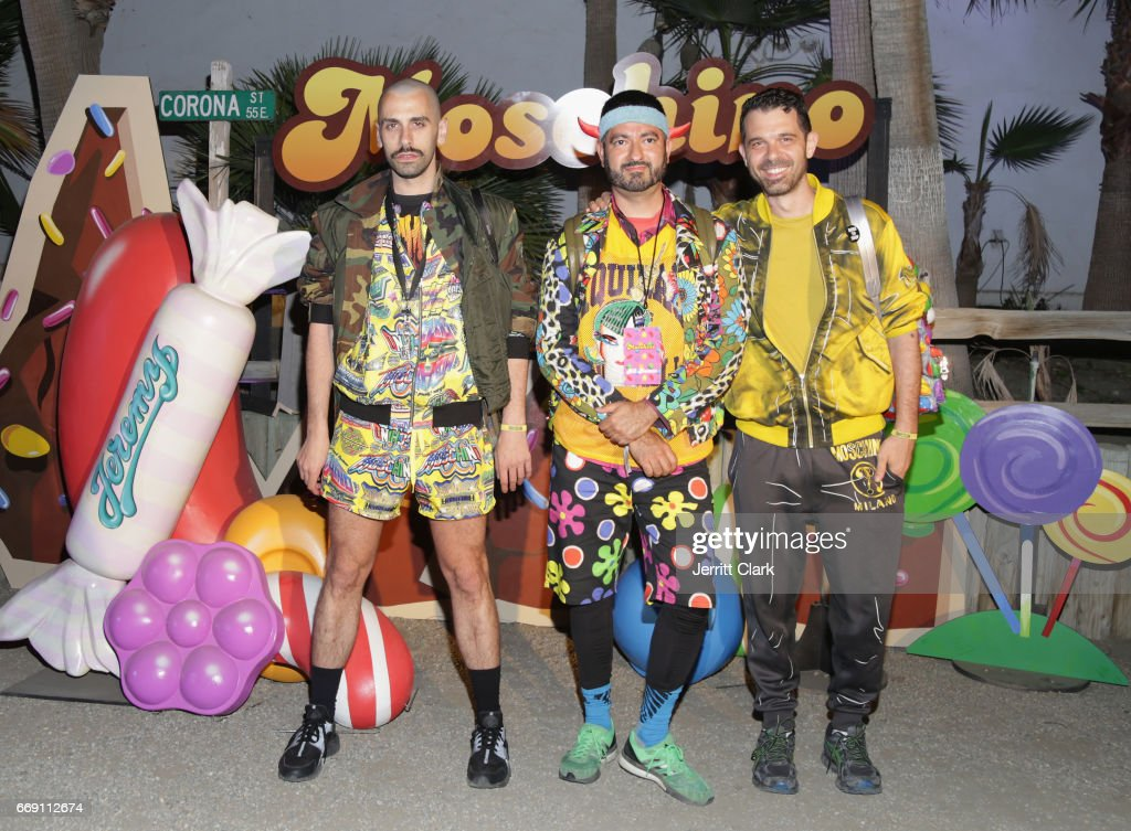 Luca Finotti, Pablo Olea and Andrea Mercanti attend the Moschino Candy Crush Desert Party hosted by Jeremy Scott on April 15, 2017 in Coachella, California.