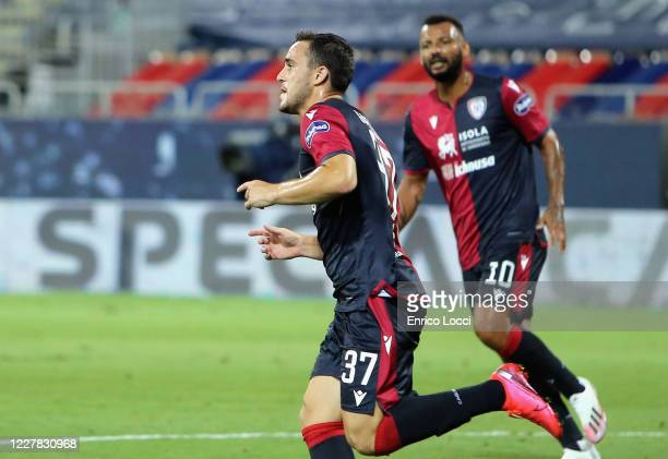 Luca Gagliano of Cagliari celebrates scoring the opening goal during the Serie A match between Cagliari Calcio and Juventus at Sardegna Arena on July...