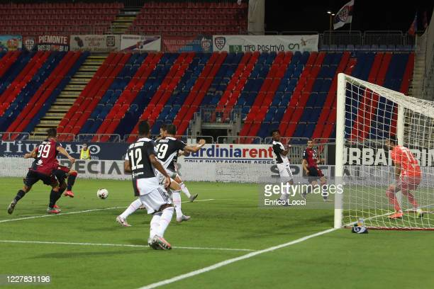 Luca Gagliano of Cagliari scores the opening goal during the Serie A match between Cagliari Calcio and Juventus at Sardegna Arena on July 29, 2020 in...