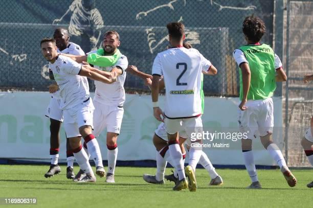 Luca Gagliano of Cagliari U19 celebrates after scoring a goal during the Serie A Primavera match between Empoli U19 and Cagliari U19 on September 20...