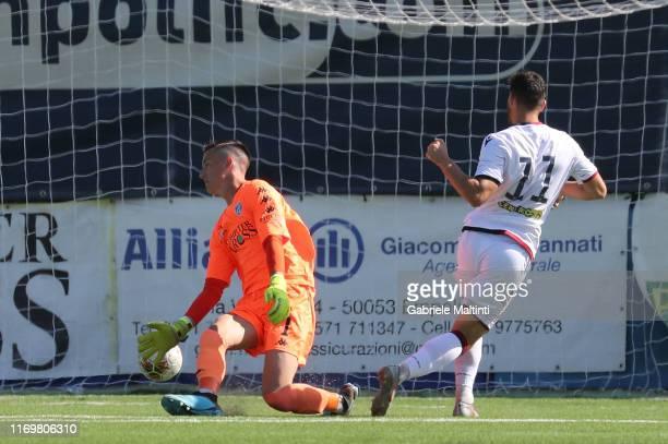 Luca Gagliano of Cagliari U19 scores a goal during the Serie A Primavera match between Empoli U19 and Cagliari U19 on September 20 2019 in Empoli...