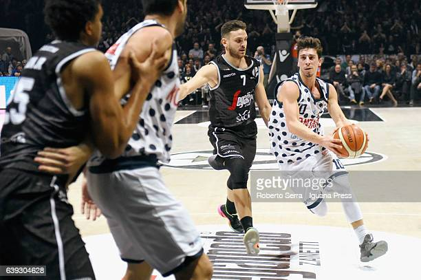 Luca Gandini and Michele Ruzzier of Kontatto competes with Kenny Lawson and Gabriele Spizzichini of Segafredo during the LNP lega basket of Serie A2...