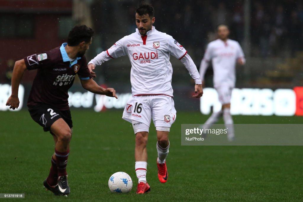 Luca Garritano (FC Carpi) during Italy Serie B match between US Salernitana and Carpi FC at Stadium Arechi in Salerno, Italy, on 2 February 2018.